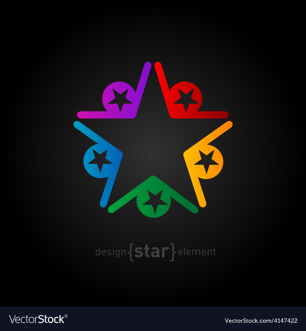 Coloured star abstract design element on black vector | Price: 1 Credit (USD $1)