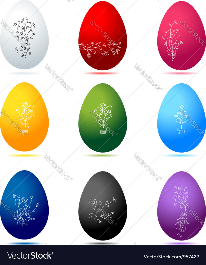 Easter eggs colorful with floral ornament vector | Price: 1 Credit (USD $1)