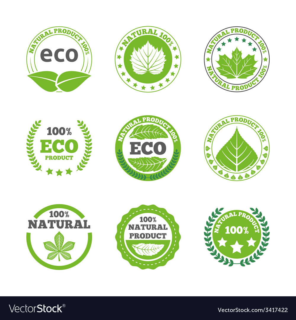Ecological leaves labels icons set vector | Price: 1 Credit (USD $1)