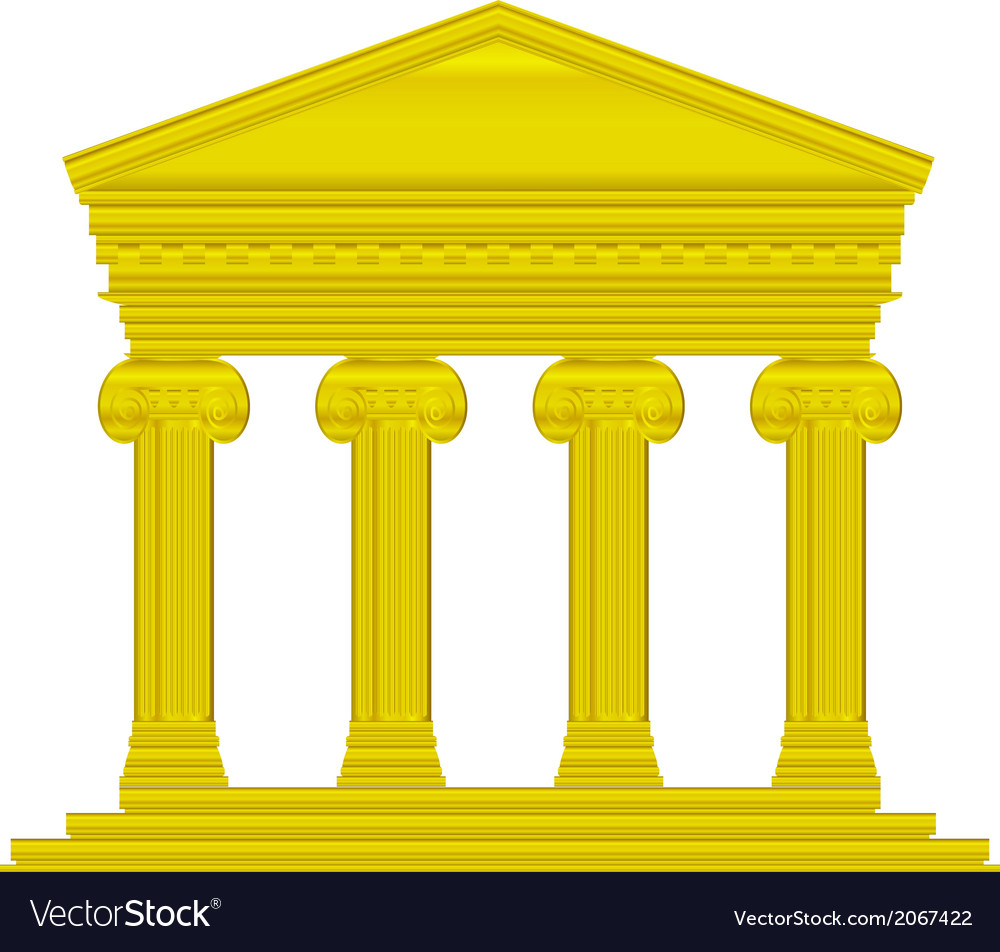 Gold ionic temple vector | Price: 1 Credit (USD $1)