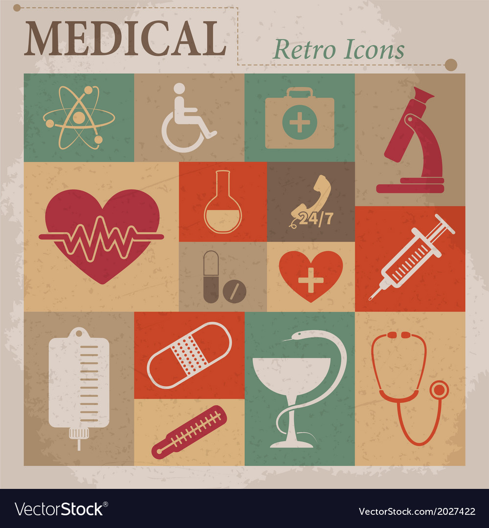 Medical flat retro icons vector | Price: 1 Credit (USD $1)