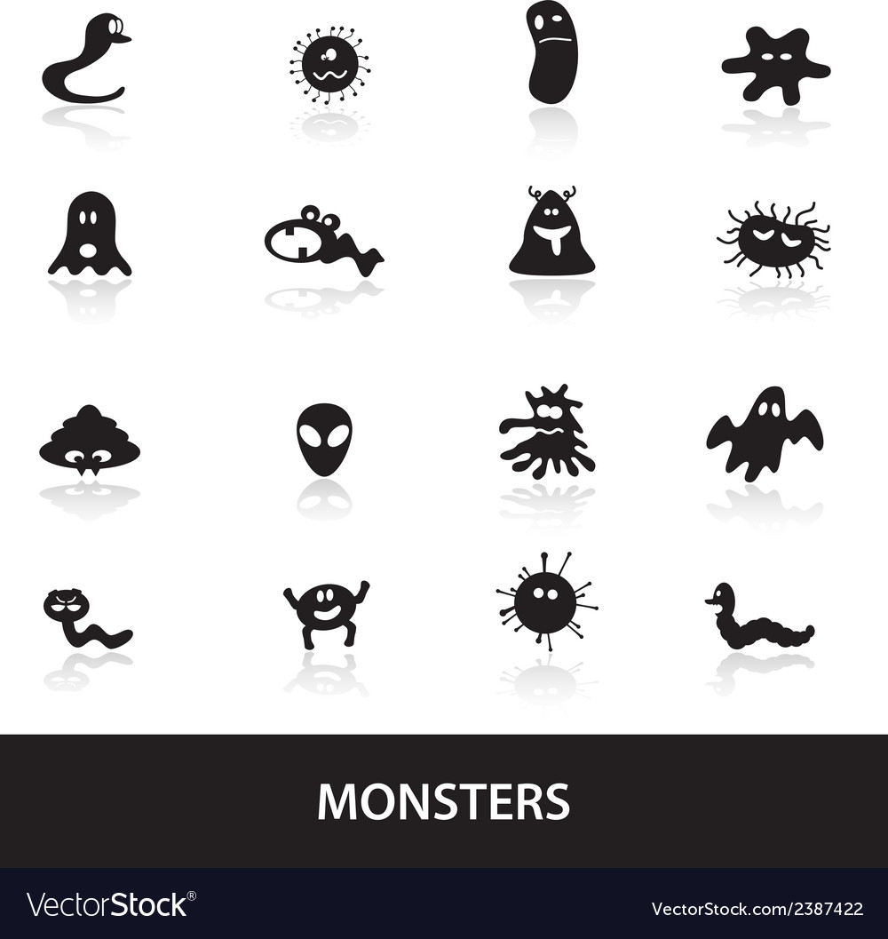 Monsters icon collection eps10 vector | Price: 1 Credit (USD $1)