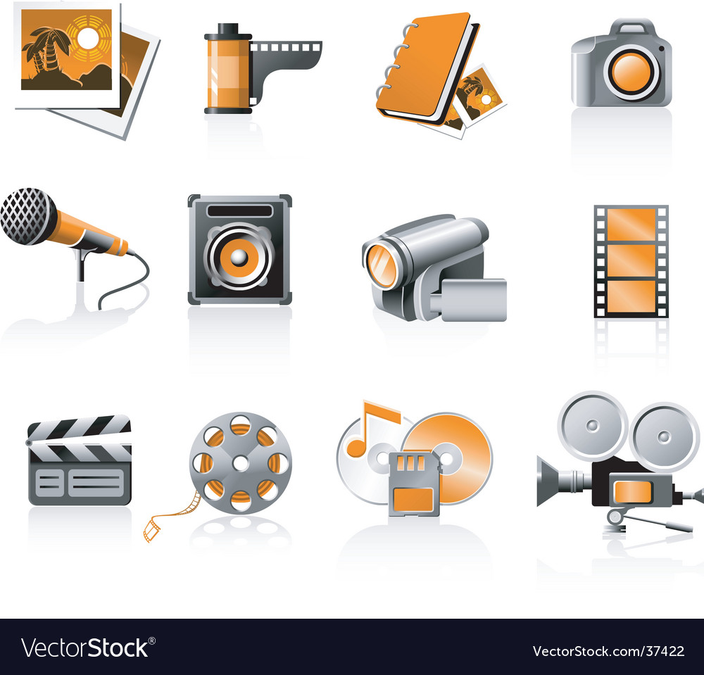 Multimedia icons set vector | Price: 3 Credit (USD $3)