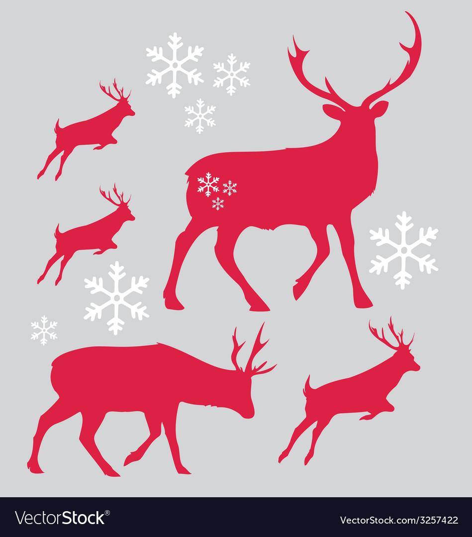 Raindeer christmas with snowflake vector | Price: 1 Credit (USD $1)