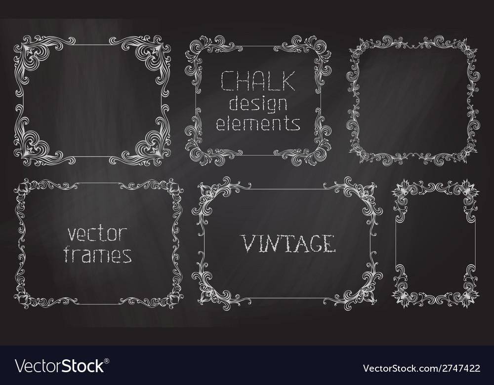Set of chalk calligraphic frames vector | Price: 1 Credit (USD $1)