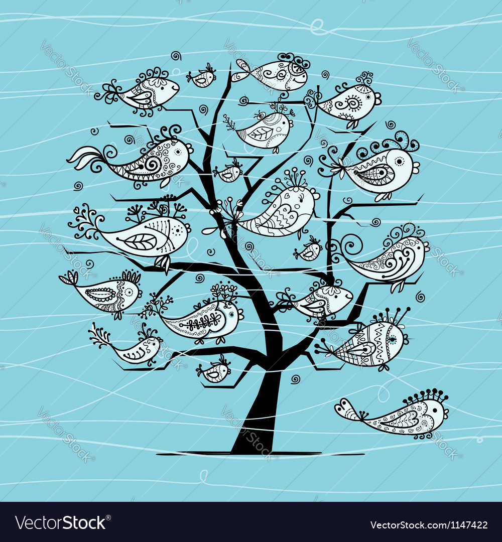 Underwater tree with funny fishes for your design vector | Price: 1 Credit (USD $1)