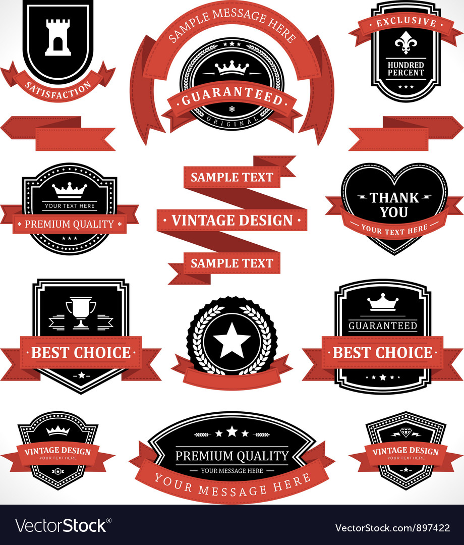 Vintage labels and ribbon retro style set vector | Price: 3 Credit (USD $3)