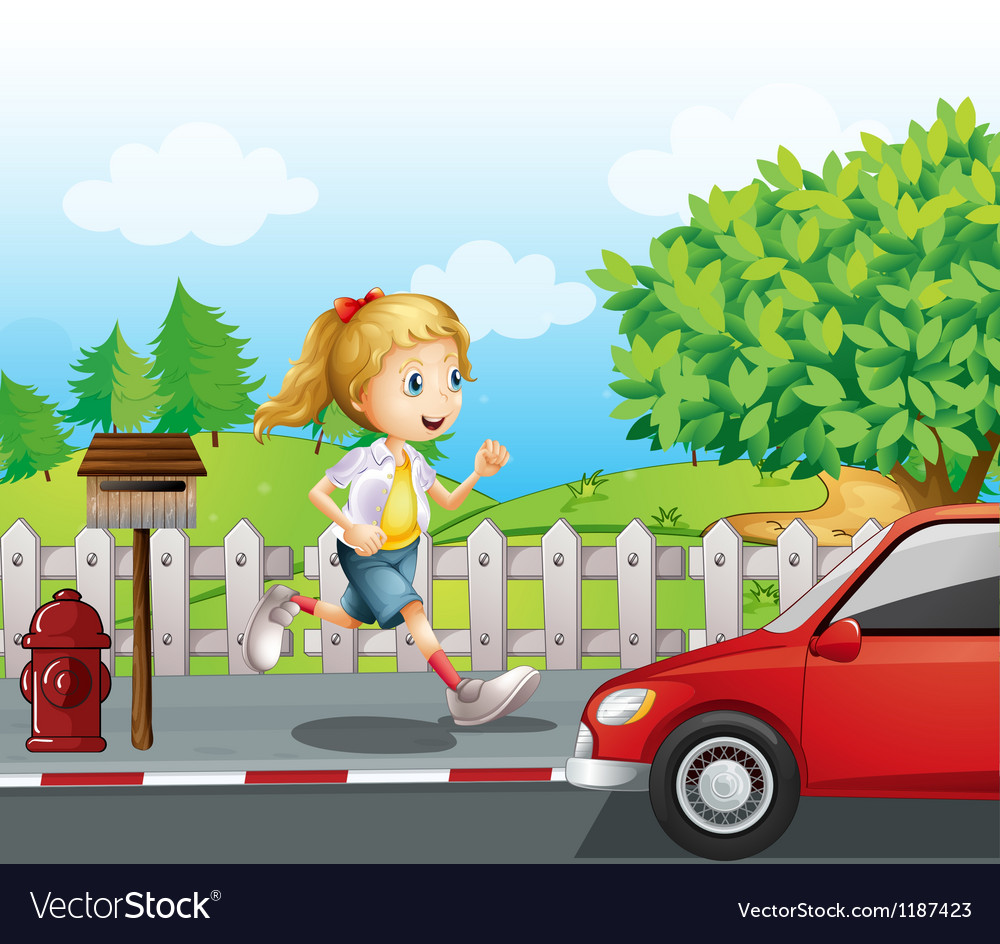 A girl running along the road vector | Price: 1 Credit (USD $1)