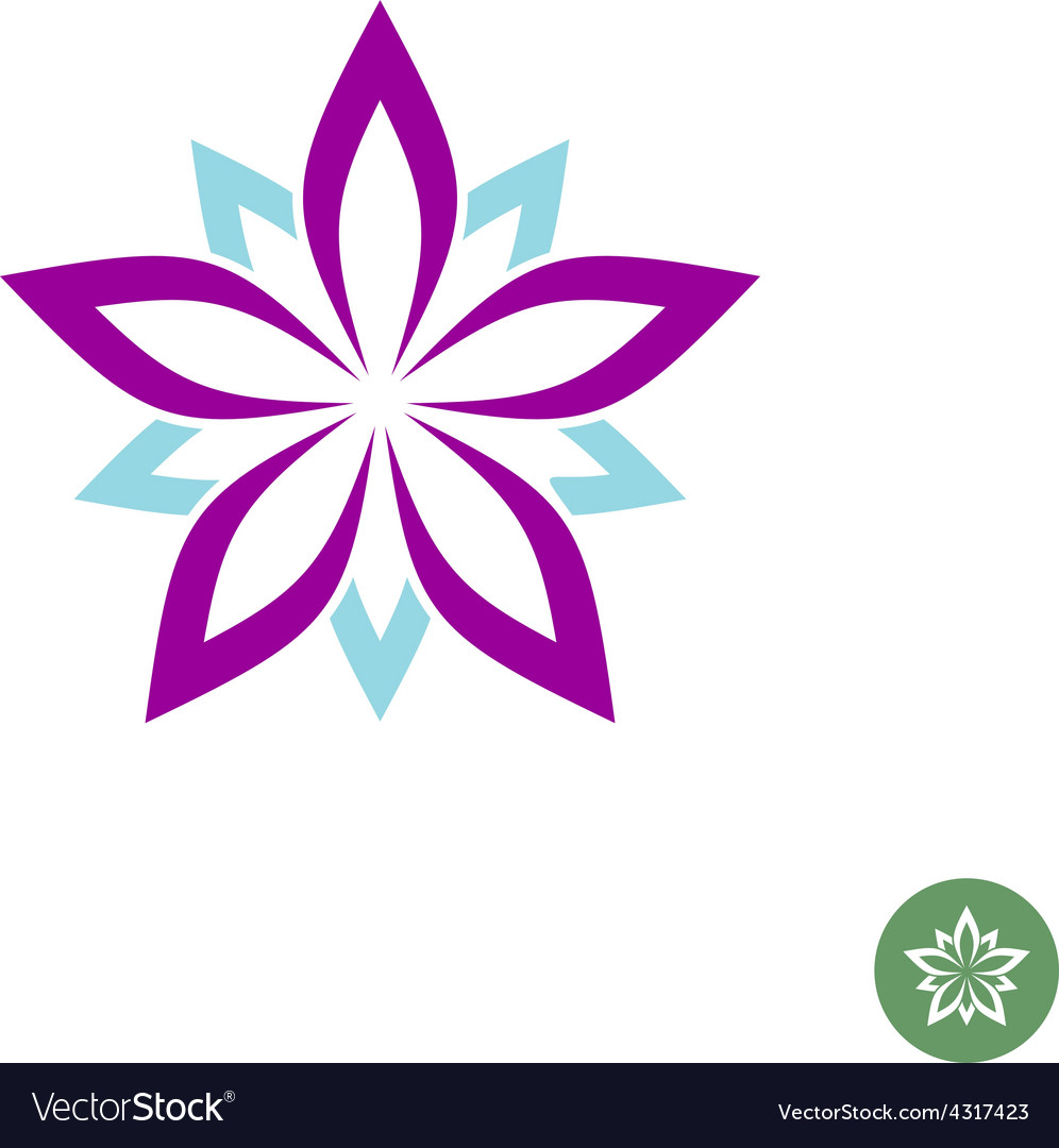 Five leaves lotus flower logo template vector | Price: 1 Credit (USD $1)