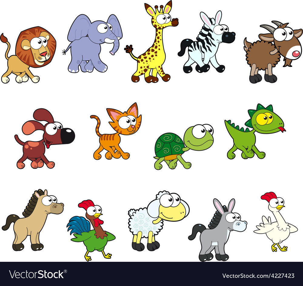 Group of funny animals vector | Price: 3 Credit (USD $3)