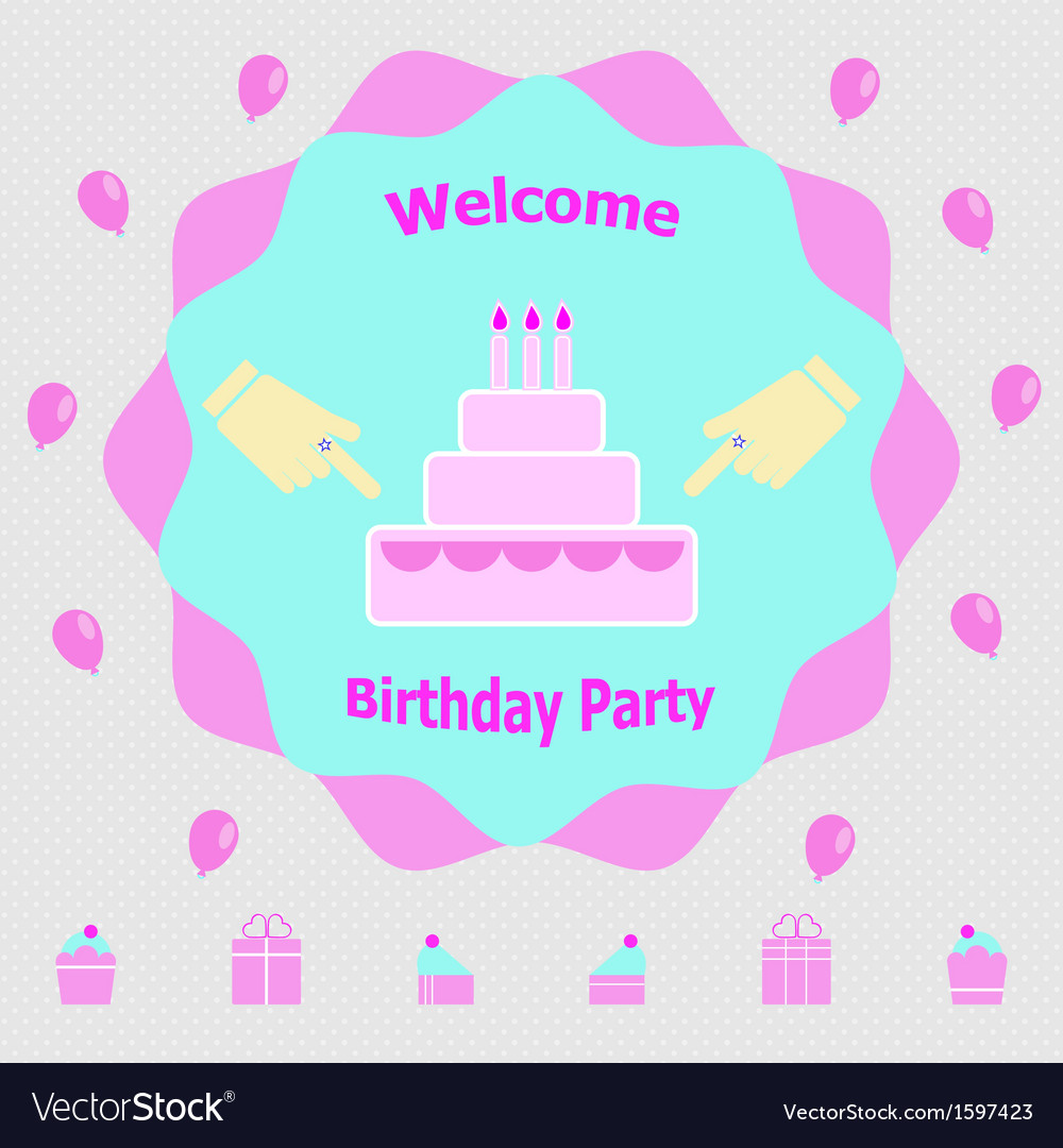 Invitation message for birthday party vector | Price: 1 Credit (USD $1)