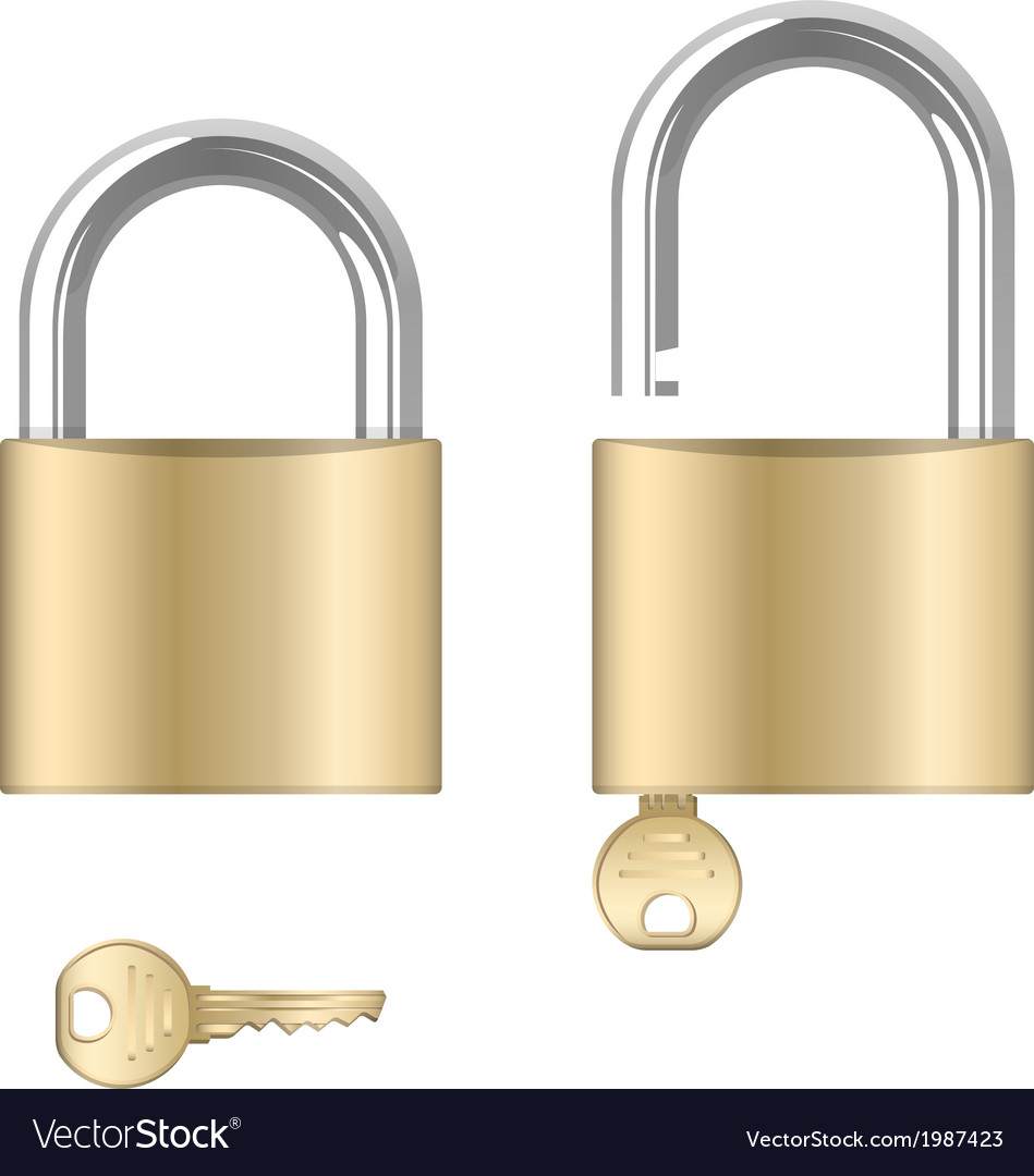 Locked and unlocked padlocks with keys vector | Price: 1 Credit (USD $1)