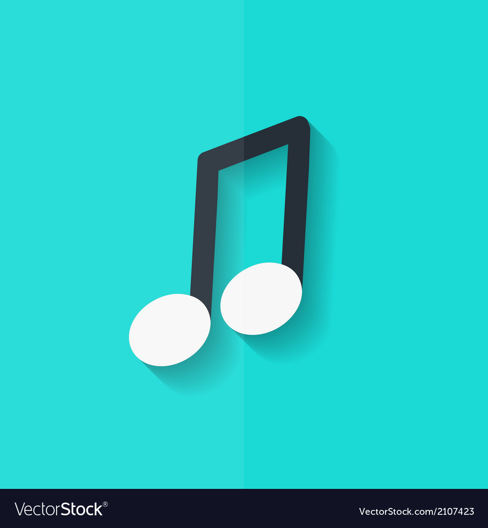 Music note icon musical background flat design vector | Price: 1 Credit (USD $1)