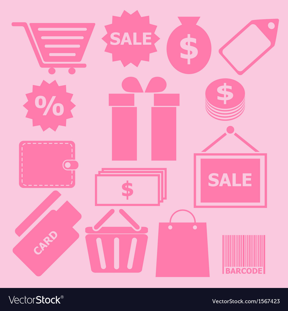 Set of shopping icons on pink background vector | Price: 1 Credit (USD $1)