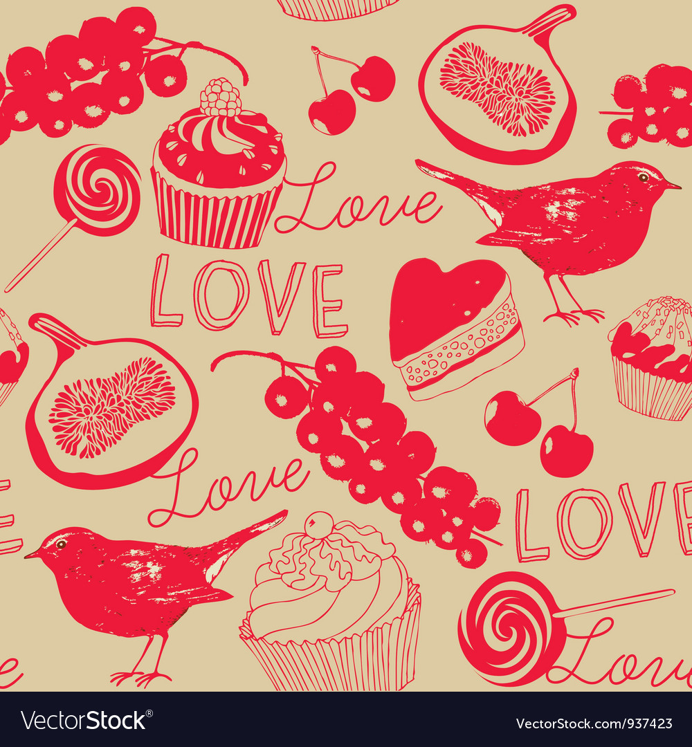 Vintage love foods pattern vector | Price: 1 Credit (USD $1)