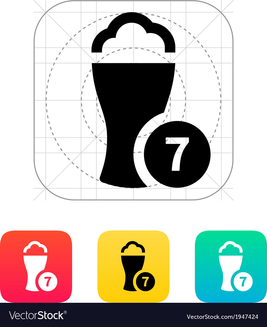 Beer glass with number icon vector | Price: 1 Credit (USD $1)