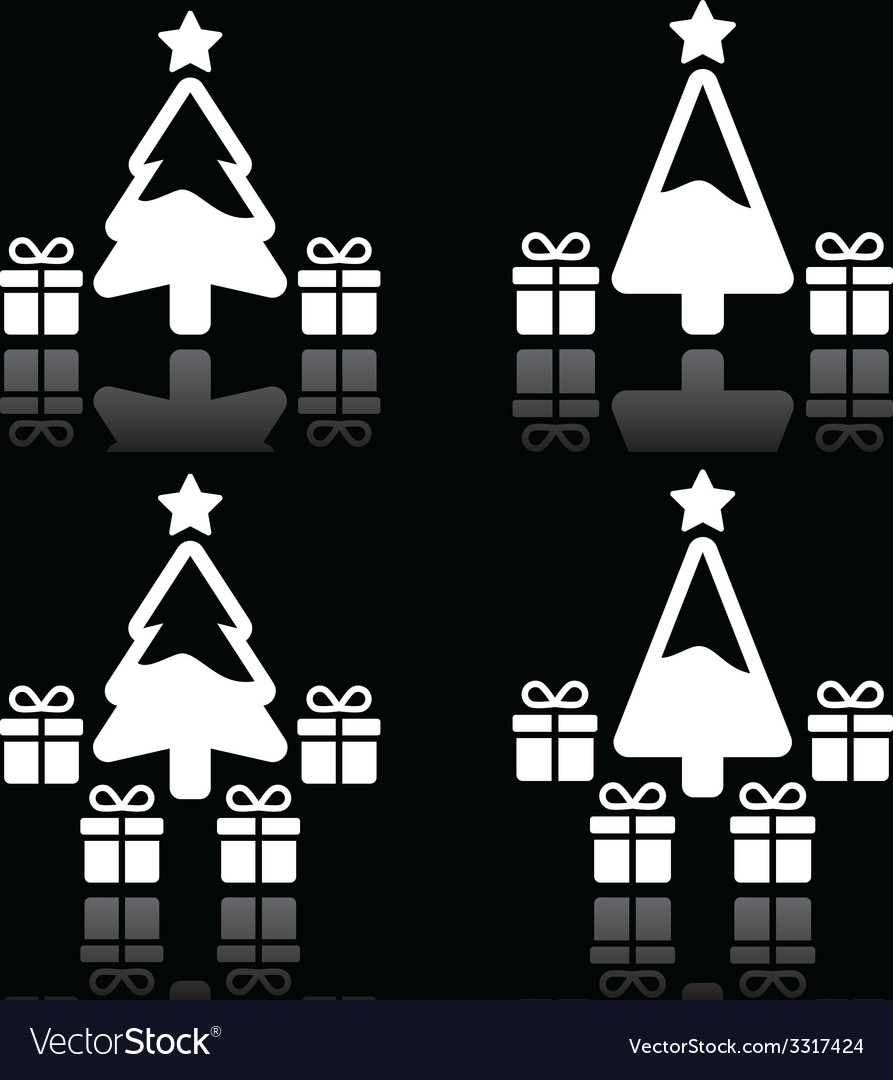 Christmas tree with presents white icons on black vector | Price: 1 Credit (USD $1)