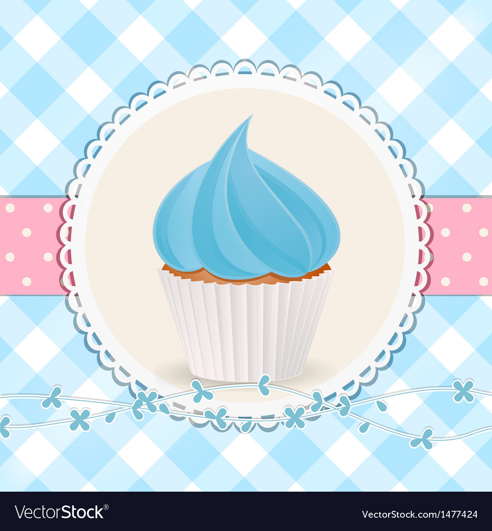 Cupcake with blue icing on blue gingham background vector | Price: 1 Credit (USD $1)