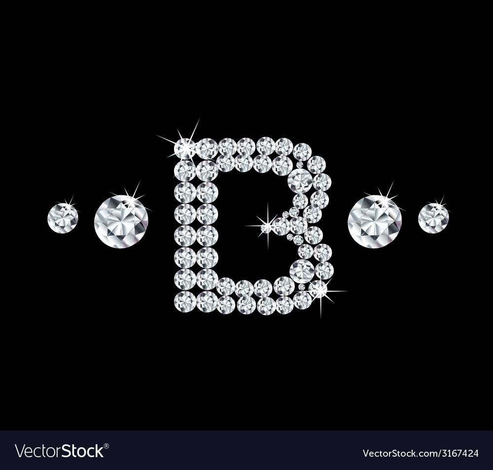 Diamond alphabetic letter b vector