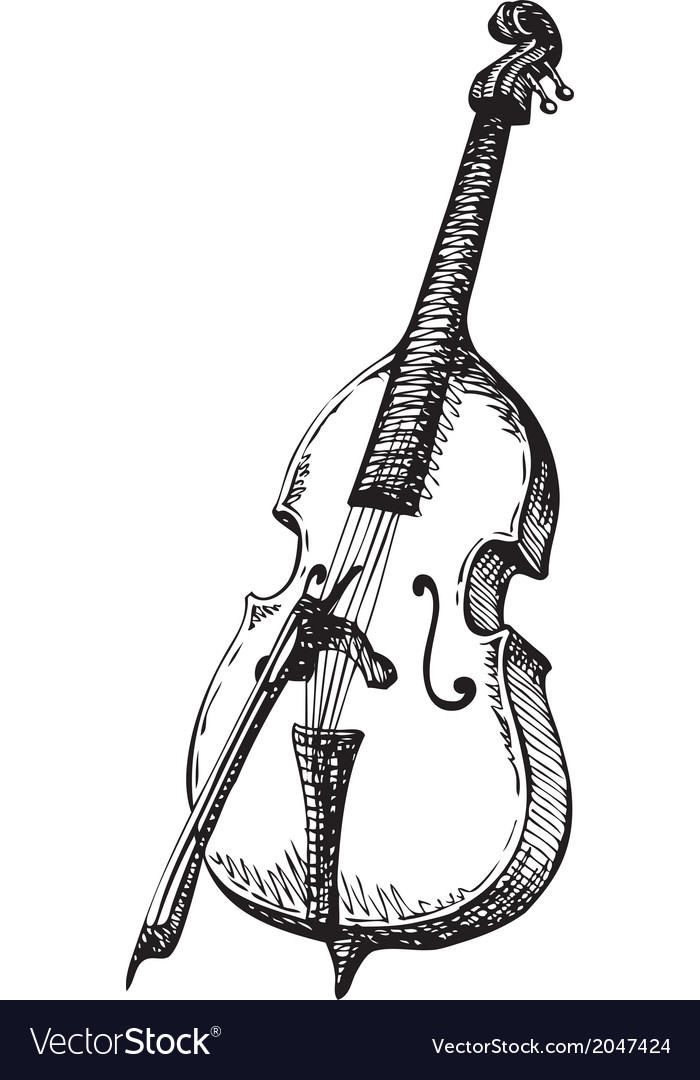 Double bass with a bow vector | Price: 1 Credit (USD $1)