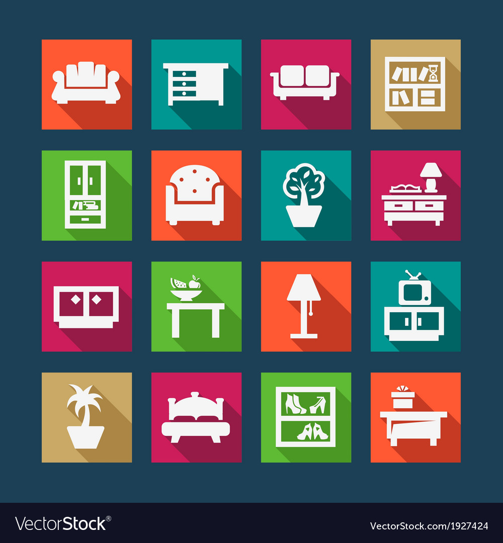 Flat furniture icons vector | Price: 1 Credit (USD $1)