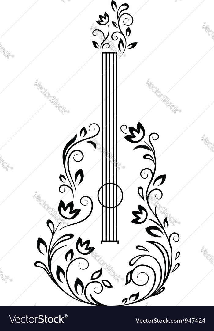 Guitar with floral details vector | Price: 1 Credit (USD $1)