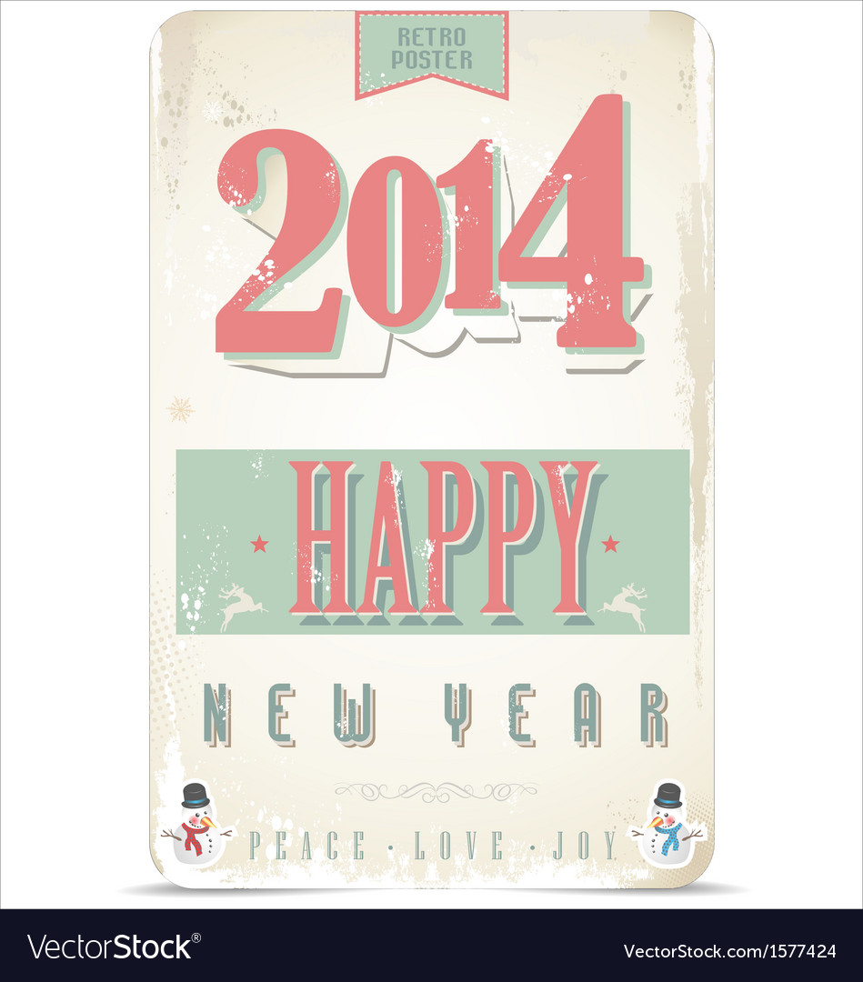 Happy new year retro background vector | Price: 1 Credit (USD $1)