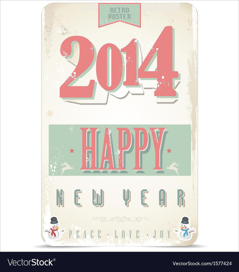 Happy new year retro background vector | Price: 1 Credit (USD $1)