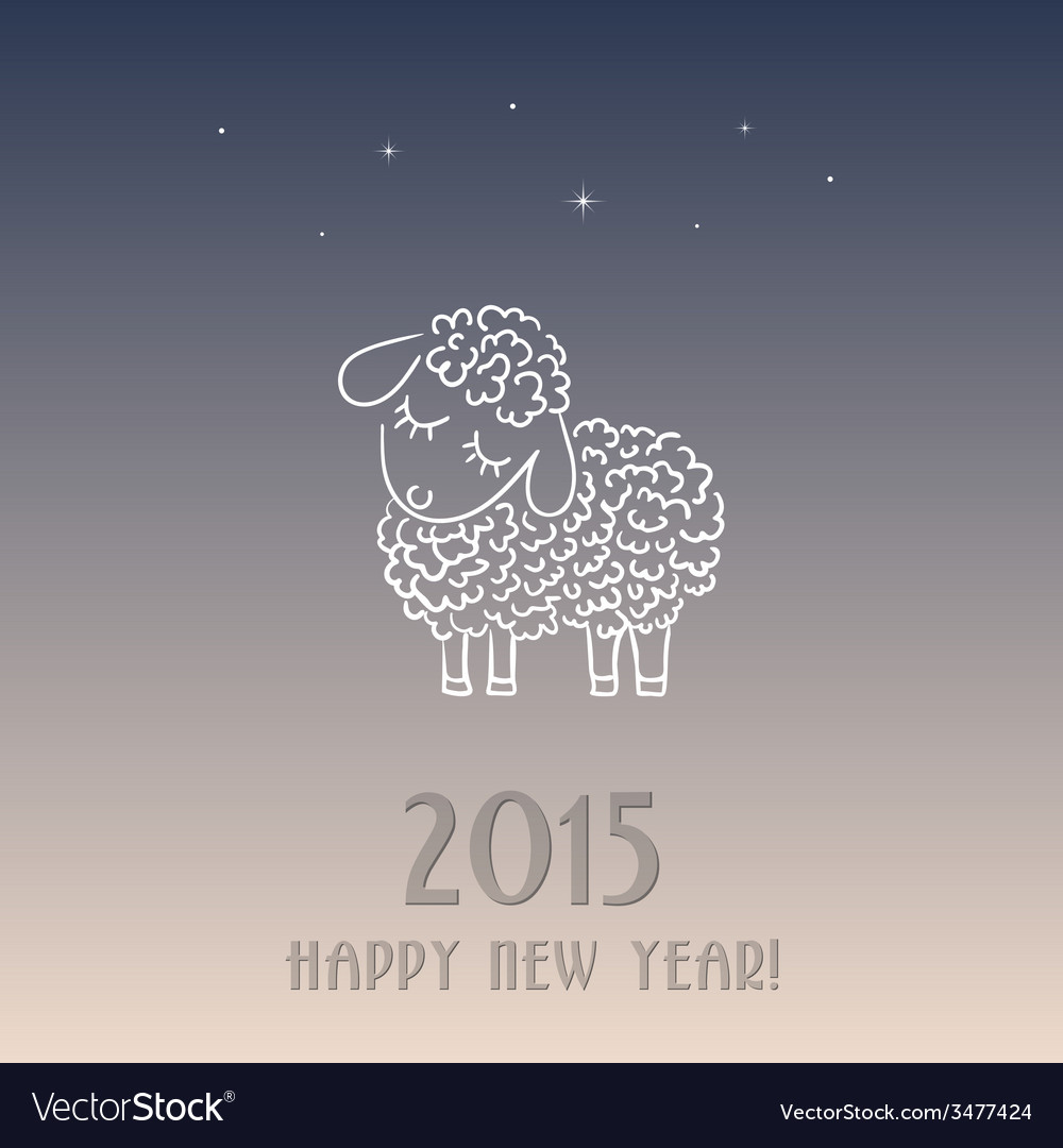 New year card with a sheep - symbol of 2015 vector | Price: 1 Credit (USD $1)