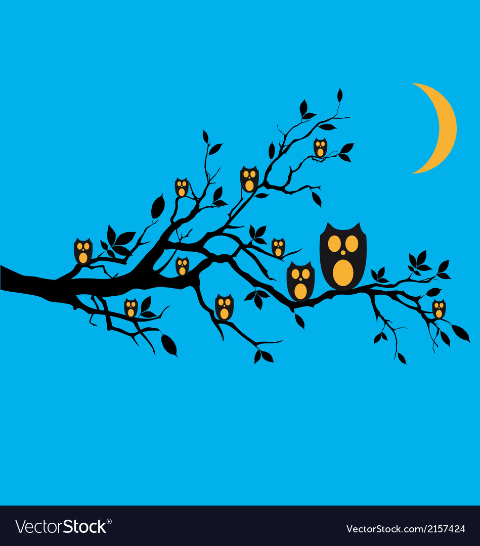 Night owls on tree branch vector | Price: 1 Credit (USD $1)
