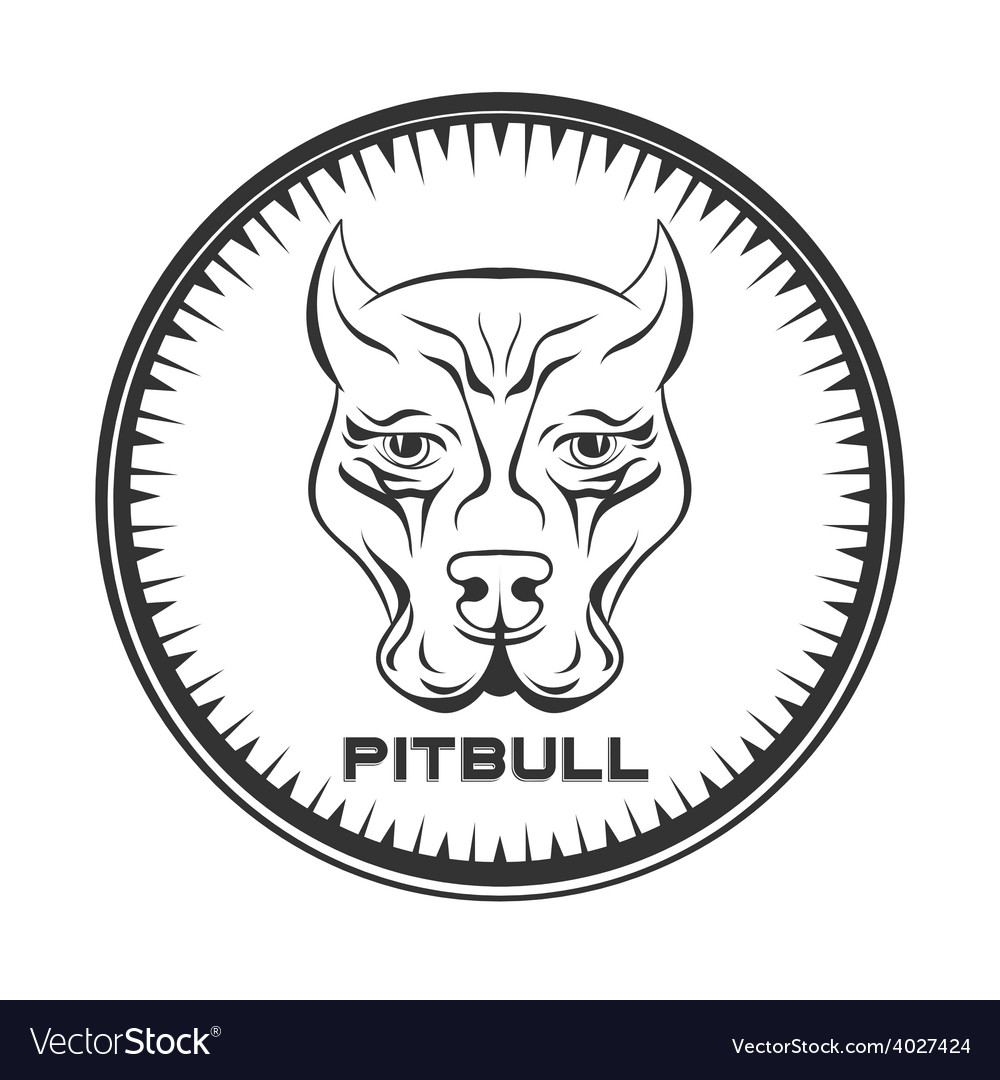 Pit bull terrier label dod face vector | Price: 1 Credit (USD $1)