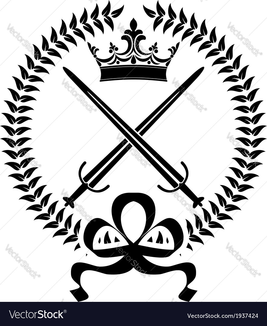 Royal emblem with crossed swords vector | Price: 1 Credit (USD $1)
