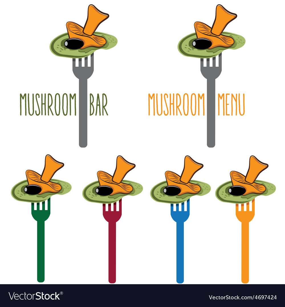Vegetarian salad with mushroom on the fork vector | Price: 1 Credit (USD $1)