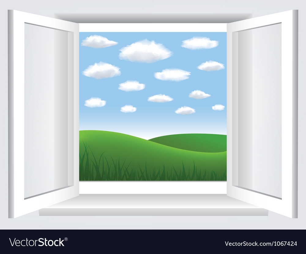 Window with meadow view vector | Price: 1 Credit (USD $1)