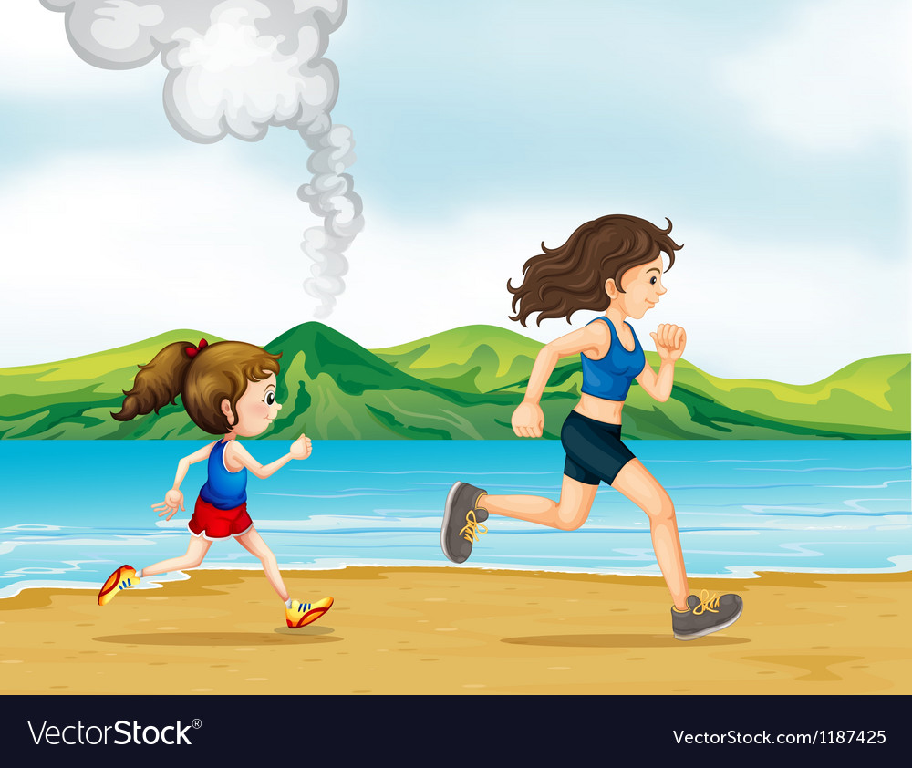 A child and a woman jogging vector | Price: 1 Credit (USD $1)