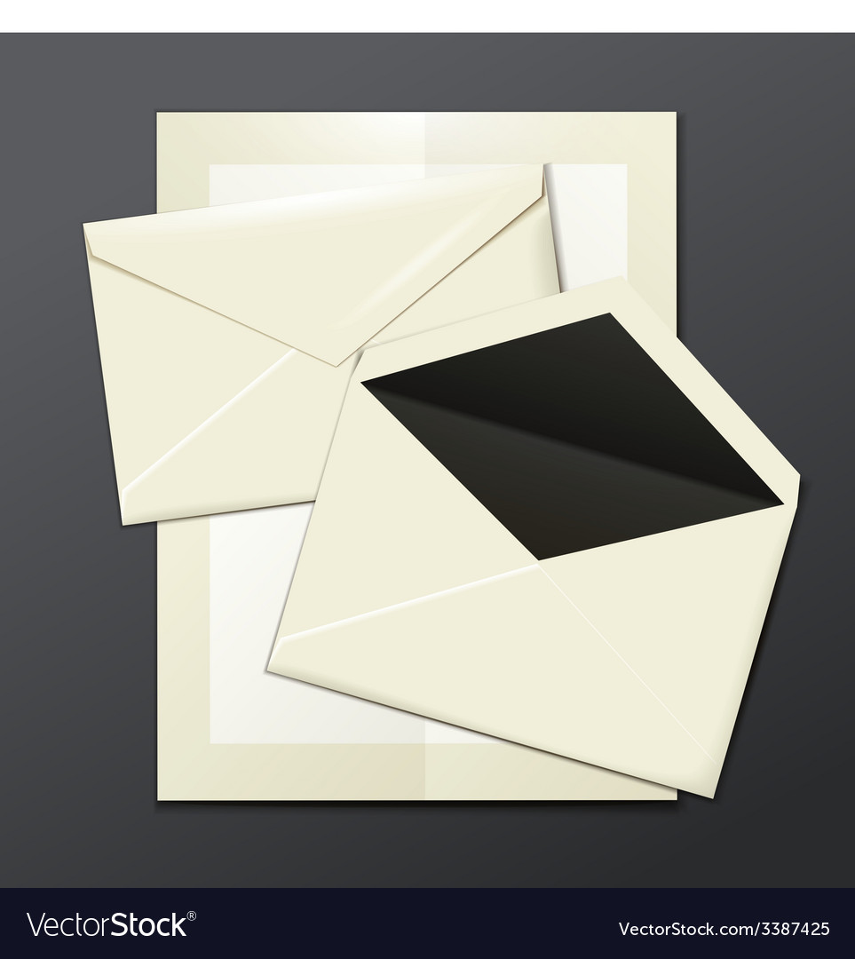 Blank white envelopes opened close and a letter vector | Price: 1 Credit (USD $1)