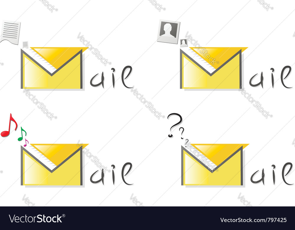 Email attachment icons vector | Price: 1 Credit (USD $1)