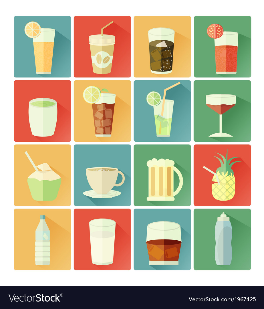 Flat icons beverage vector | Price: 1 Credit (USD $1)