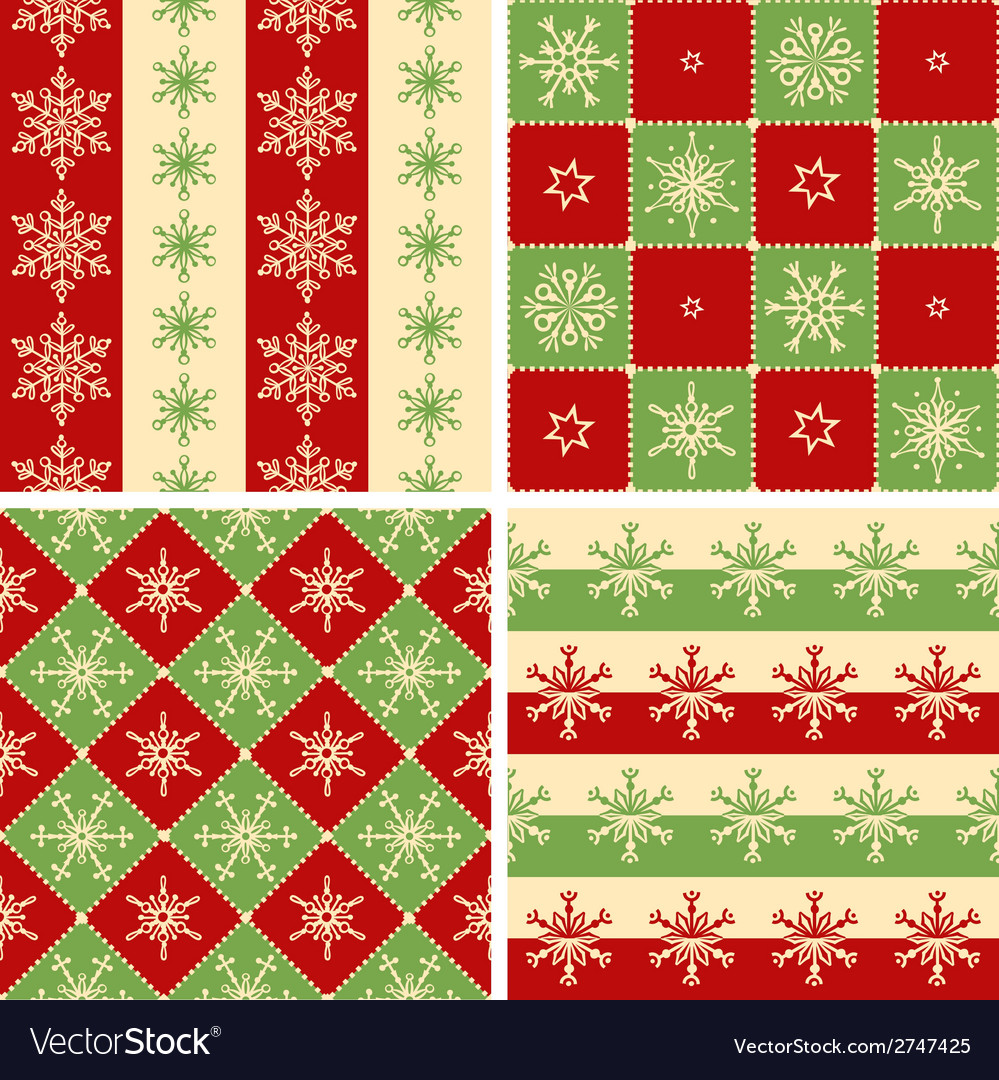 Four christmas seamless patterns vector | Price: 1 Credit (USD $1)
