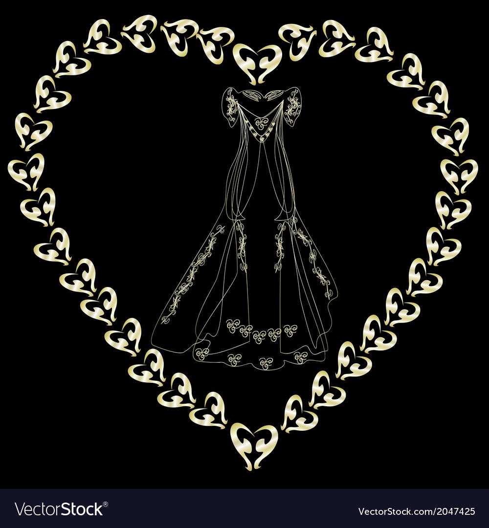 Gold wedding dress in the loop vector | Price: 1 Credit (USD $1)