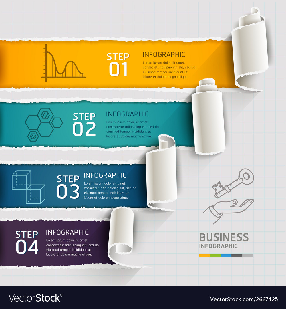 Modern infographics template torn paper style vector   Price: 1 Credit (USD $1)