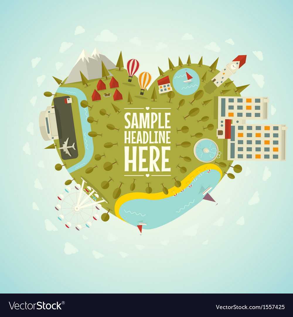 Resort planet in shape of heart vector | Price: 1 Credit (USD $1)
