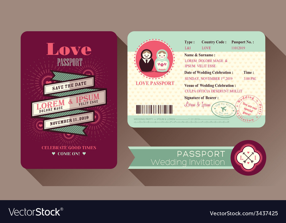 Retro visa passport wedding invitation card design vector | Price: 1 Credit (USD $1)
