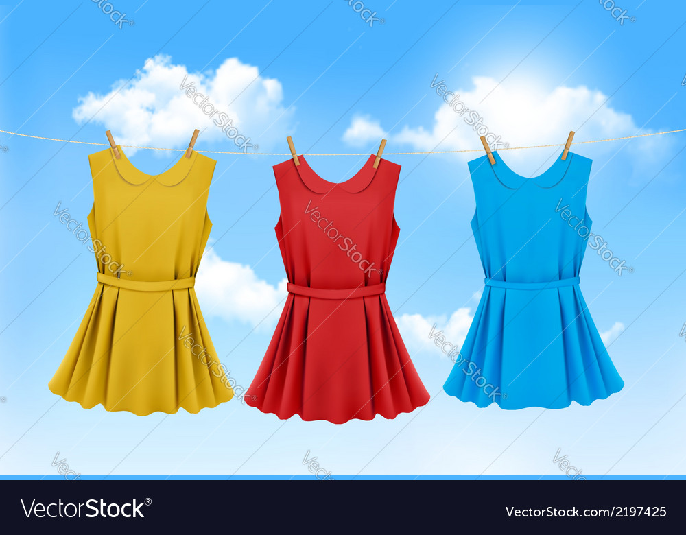 Set of colored dresses hanging on a clothesline on vector | Price: 1 Credit (USD $1)