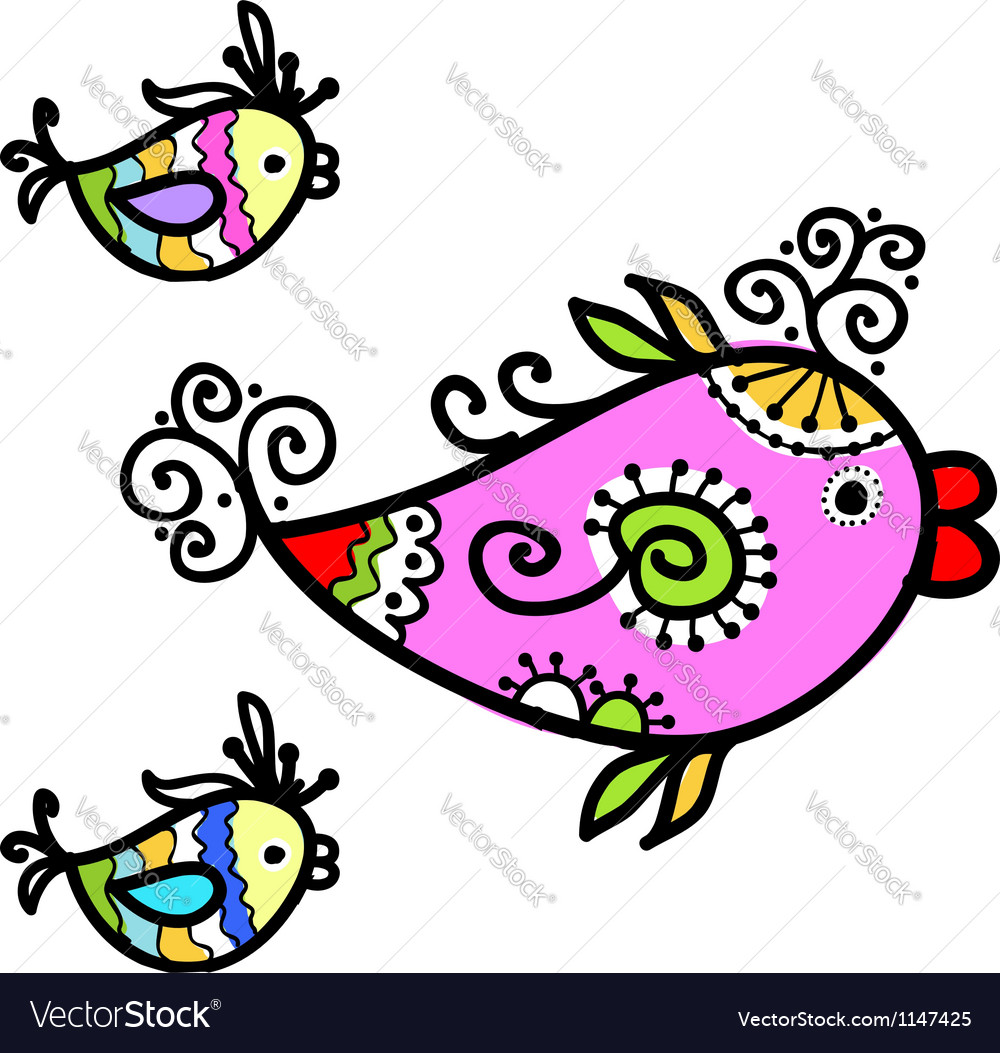 Sketch of funny fishes for your design vector | Price: 1 Credit (USD $1)