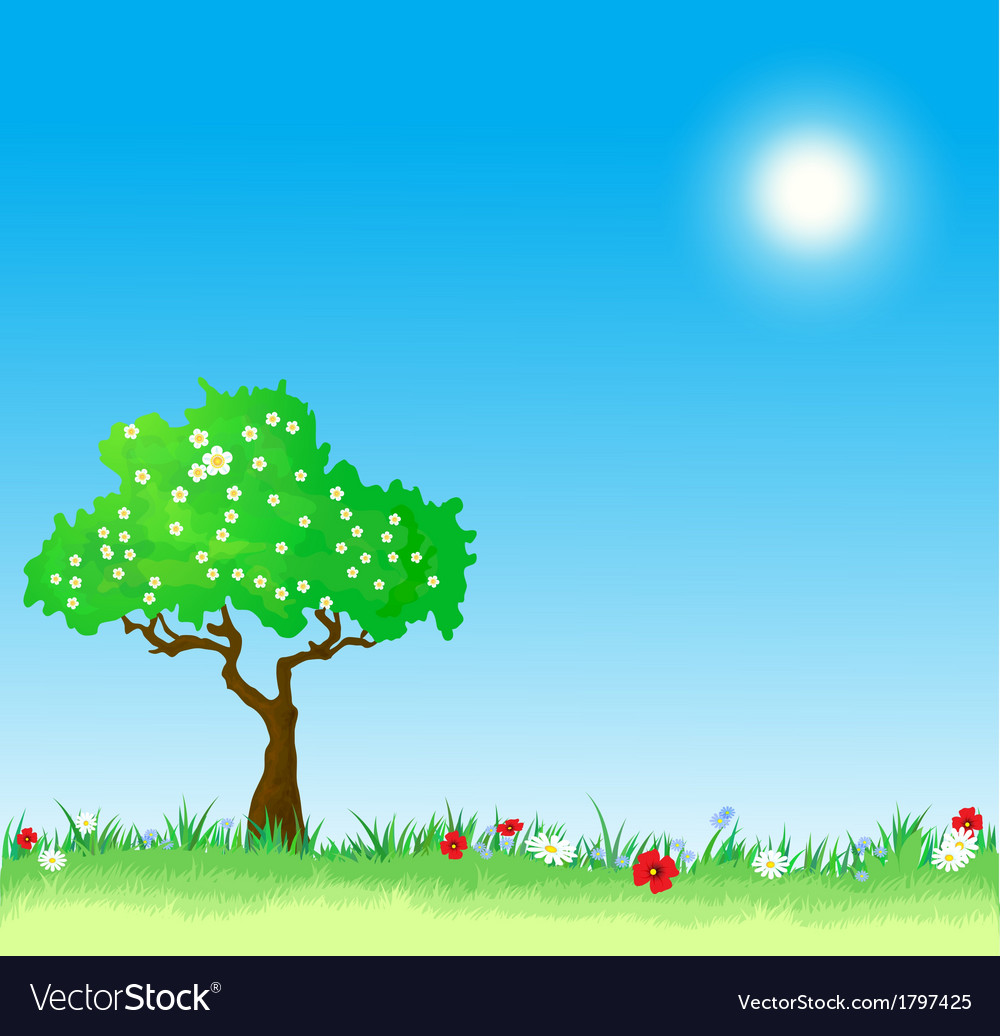 Spring background with tree and flowers vector | Price: 1 Credit (USD $1)
