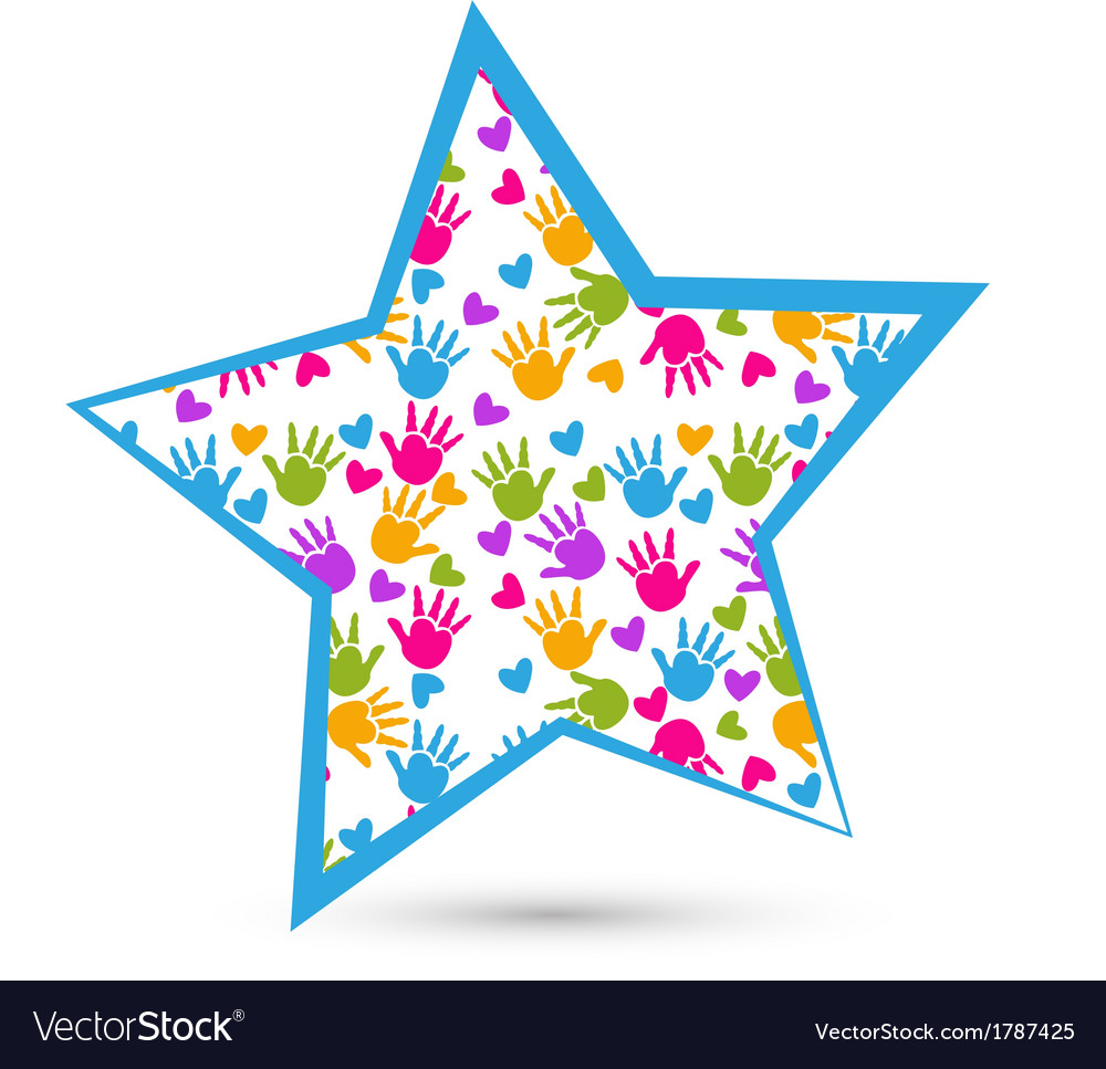 Star and colored hands logo vector | Price: 1 Credit (USD $1)