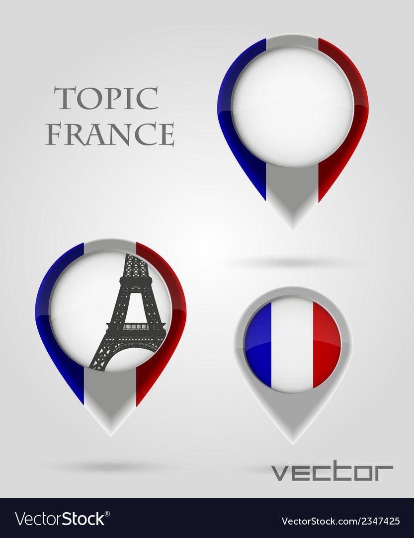 Topic france map marker vector | Price: 1 Credit (USD $1)