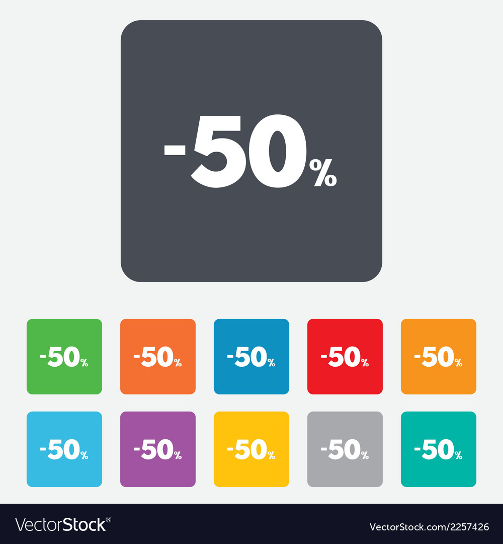 50 percent discount sign icon sale symbol vector | Price: 1 Credit (USD $1)