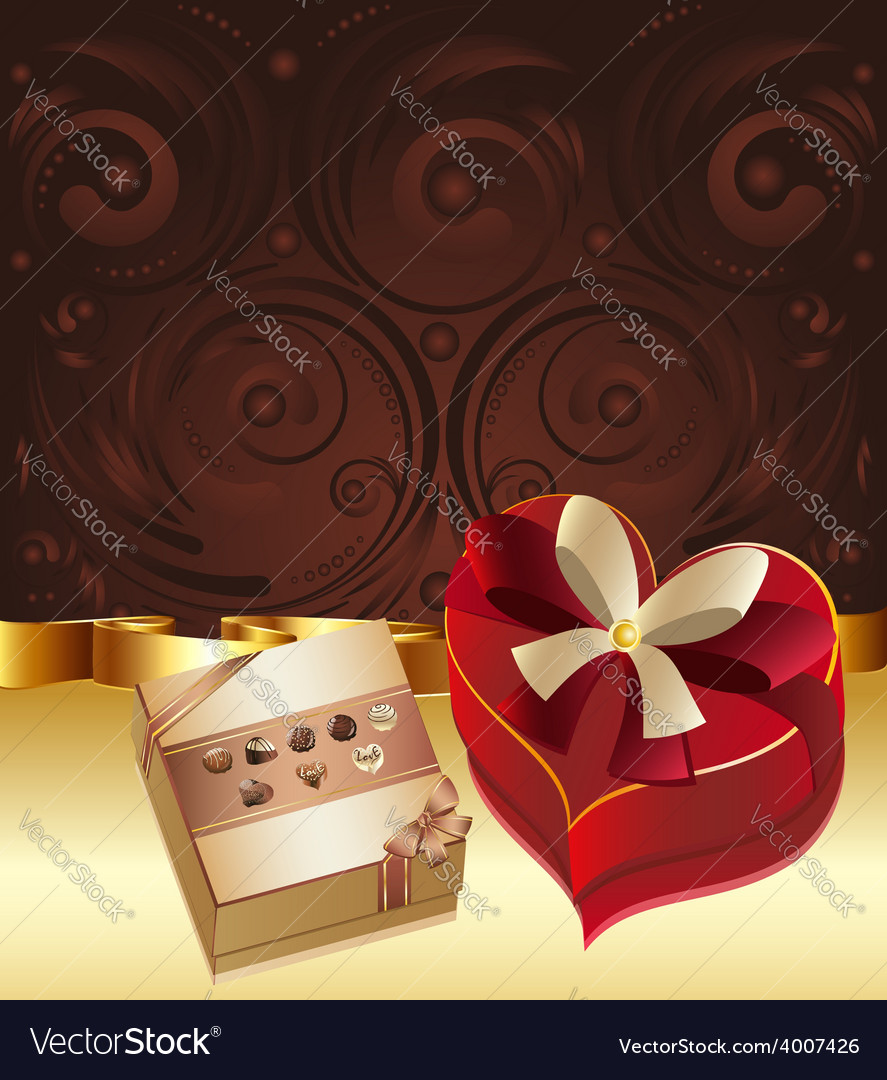 Brown background with chocolate box4 vector | Price: 3 Credit (USD $3)